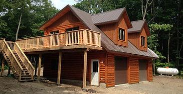 Garage with bonus room and deck