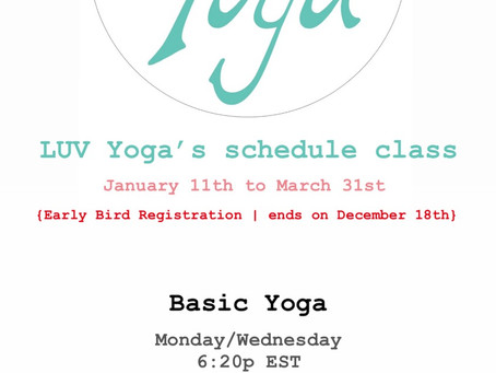 Winter LUV Yoga's schedule class - check it out! 🧘🏻♀️🙏🏻✨