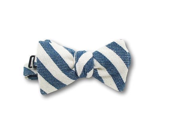 Noeud papillon fouta rayé bleu