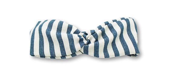 headband fouta rayé bleu et blanc