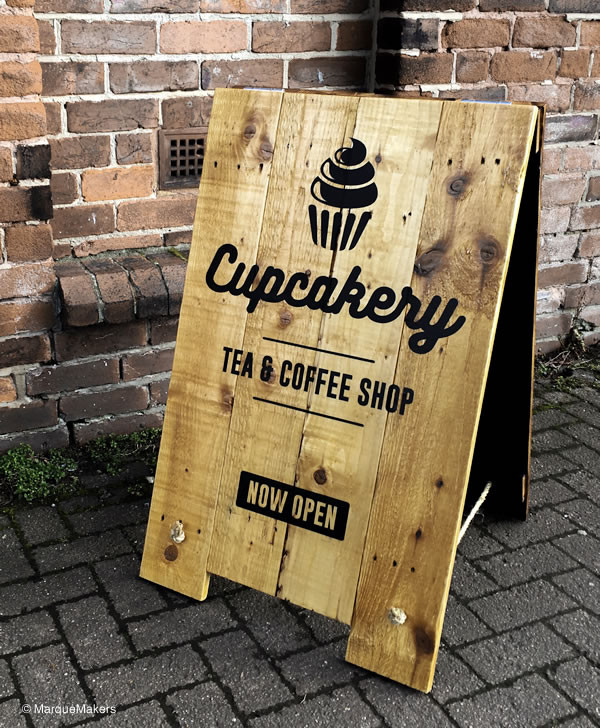 Handmade Wooden Cake Shop Pavement / A-Board Sign.