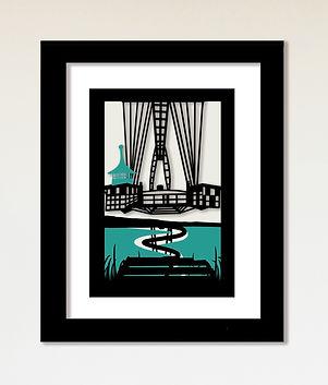 Kirigami cutout image of Newport Transporter Bridge.