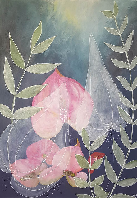 'Pink lillies' a painting in acrylic on wood panel by Louise Horton at Ffwrwm Arts