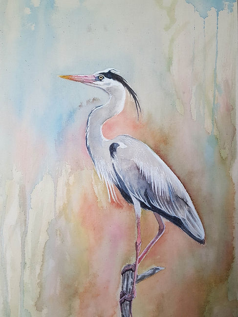 'Heron' a painting in watercolour and acrylic on calico stretched over wood panel by Louise Horton at Ffwrwm Arts