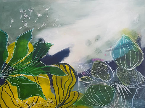 'Blue breeze' a painting in acrylic on wood panel by Louise Horton at Ffwrwm Arts