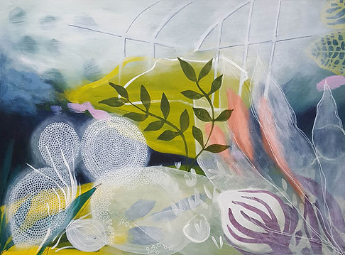 'Made in the glasshouse' a painting in acrylic on wood panel by Louise Horton at Ffwrwm Arts