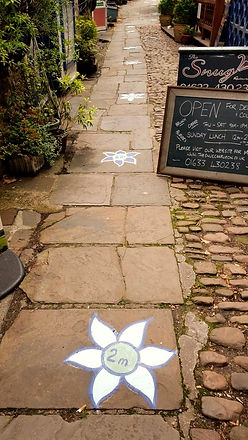 Paving stones leading into Ffwrwm with painted blue flowers marking 2m distances.