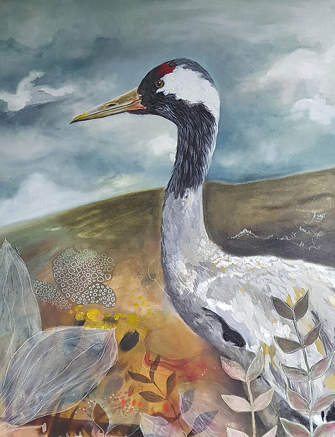 'Crane' painting in acrylic on canvas by Louise Horton at Ffwrwm Arts