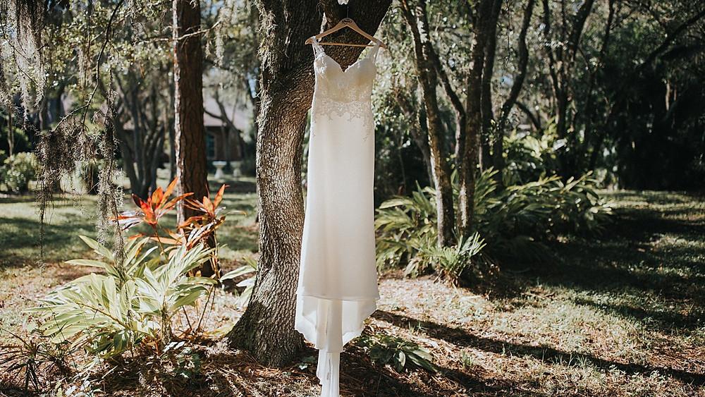 Outdoor Florida wedding venue, beaded wedding dress