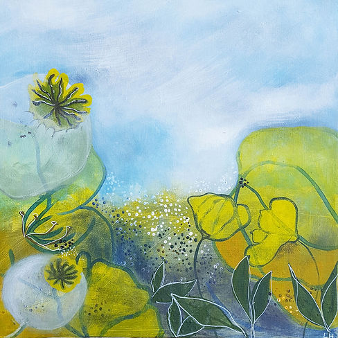 'Buttercups' a painting in acrylic on canvas by Louise Horton at Ffwrwm Arts