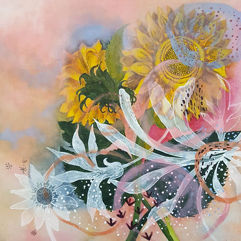 'Sunflowers' a work in mixed media on calico stretched over canvas by Louise Horton at Ffwrwm Arts