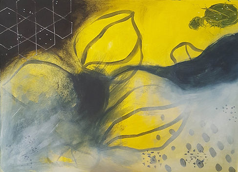 'Tree of life' a painting in acrylic on board by Louise Horton at Ffwrwm Arts