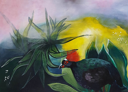 'Crested partridge' a painting in acrylic on wood panel by Louise Horton at Ffwrwm Arts