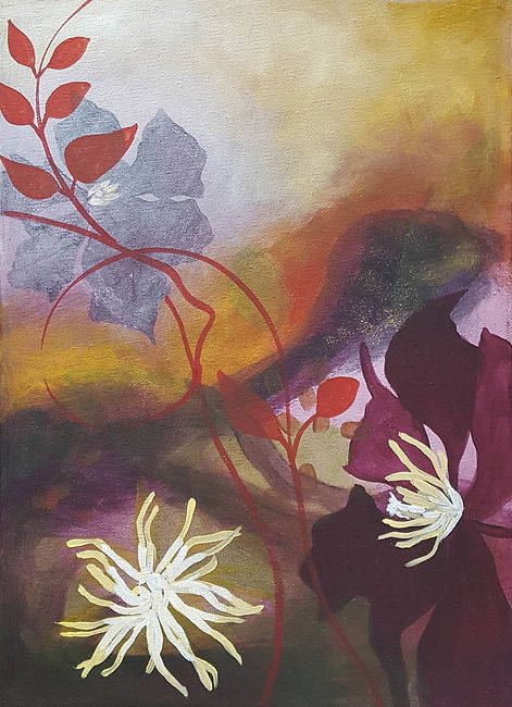 'Clematis studies' acrylic painting on canvas by Louise Horton at Ffwrwm Arts
