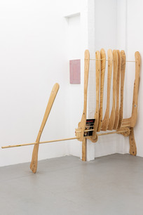 Many fingers of the room, 2021 Wood, screws; site specific, 70 x 96 x 21.5 in