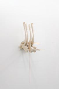 The protector (seabird), 2021 Wood, muslin, acrylic, thread, 49 x 21 x 23 in