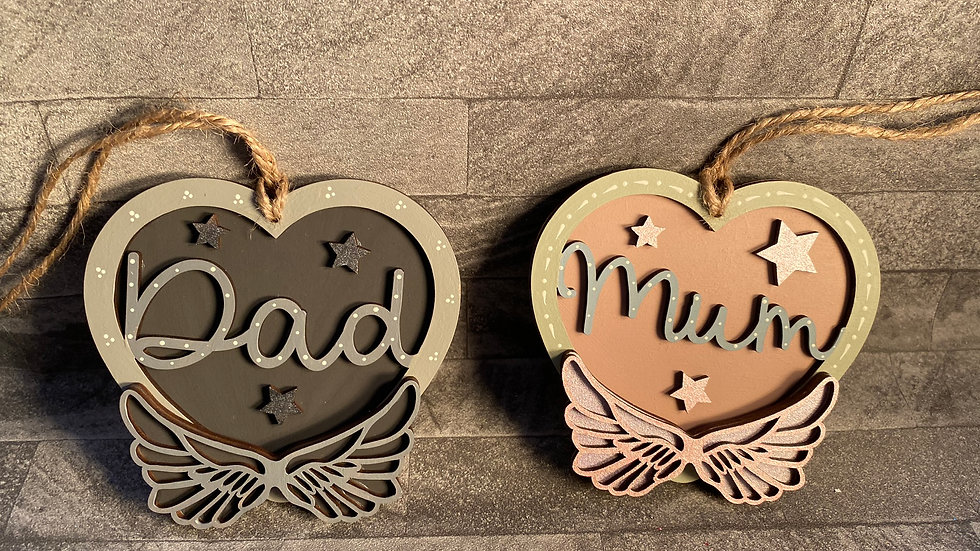 Mum or Dad winged hearts