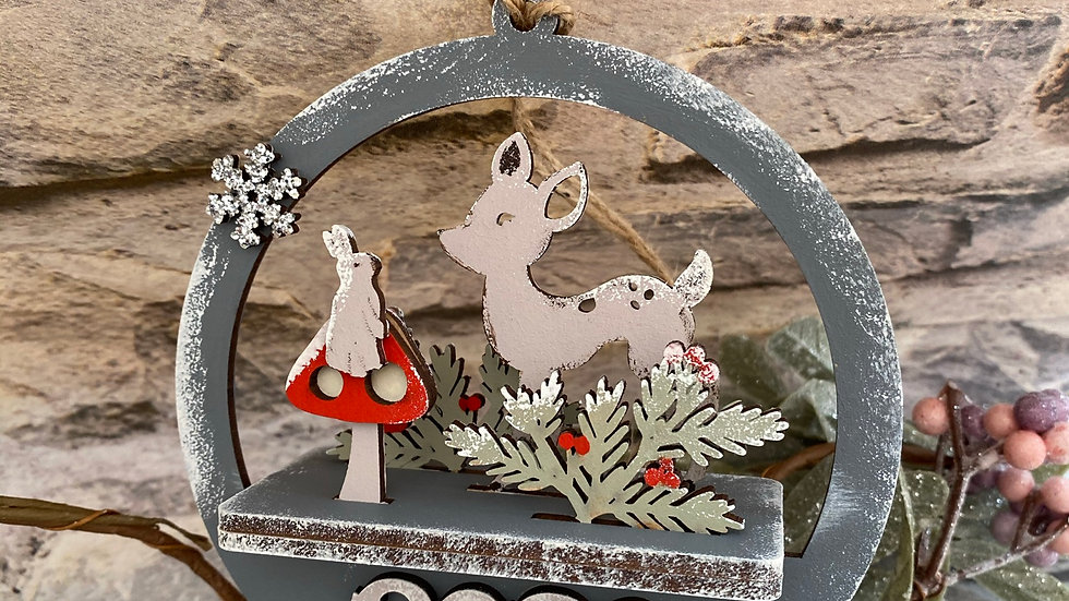 Deer and Rabbit 3DChristmas bauble