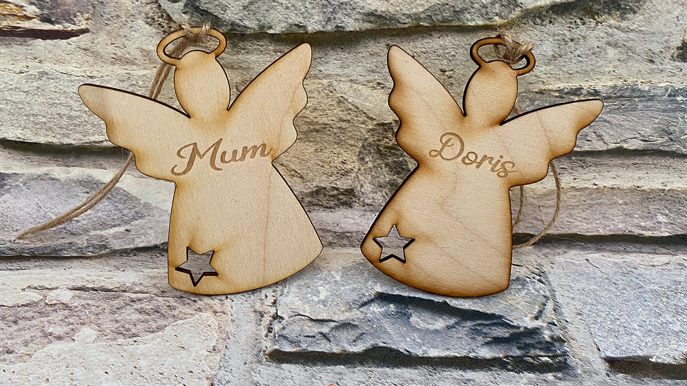 wooden personalised angels