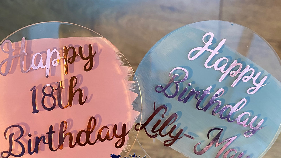 Acrylic birthday cake toppers