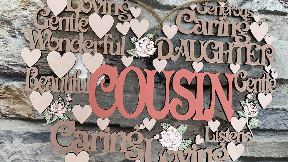 Cousin worded heart