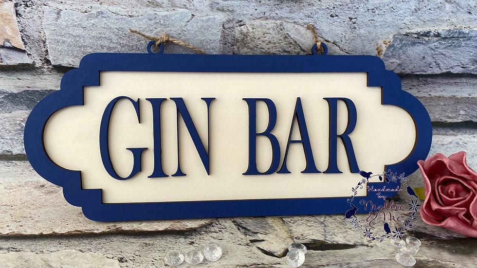 Gin bar street sign