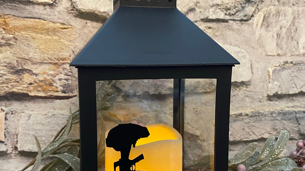 Black Led Lantern  - Never forget with poppy