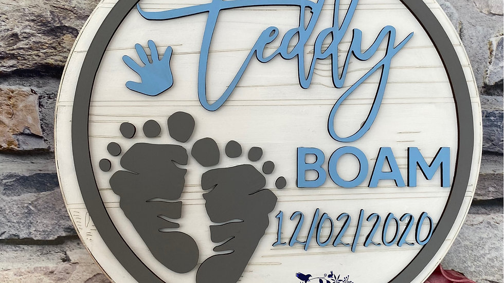 Baby name with feet and date