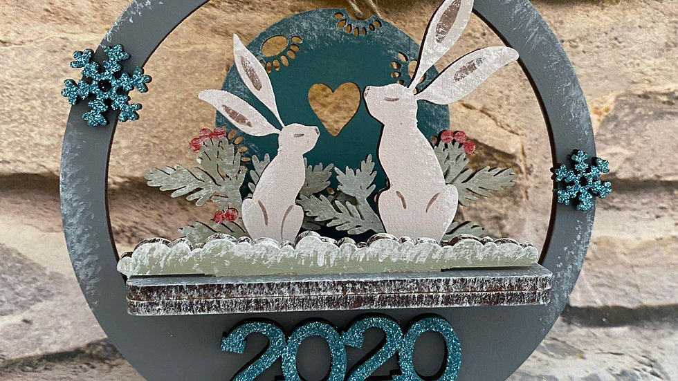 Hares 3D Christmas bauble