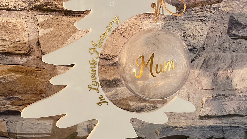 Acrylic Christmas Tree with feathered bauble personalised