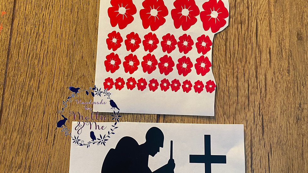 Vinyl stickers of soldier and poppies