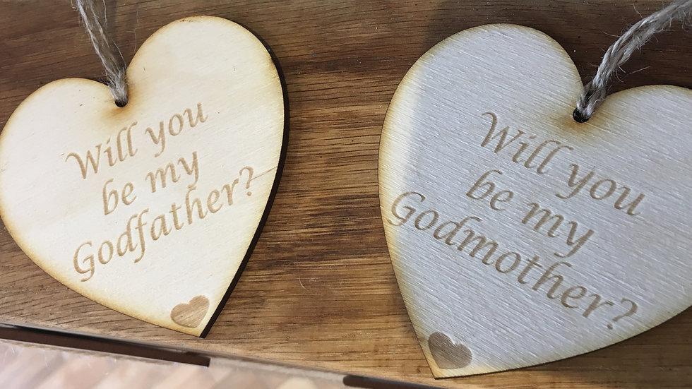 Set of 2 hearts - Will you be my Godmother/godfather