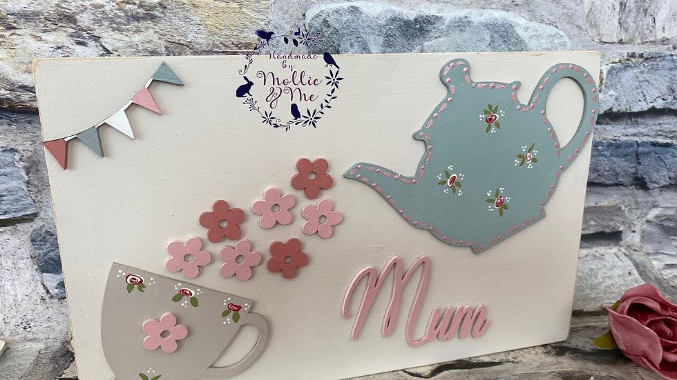 Mum with tea pot & cup