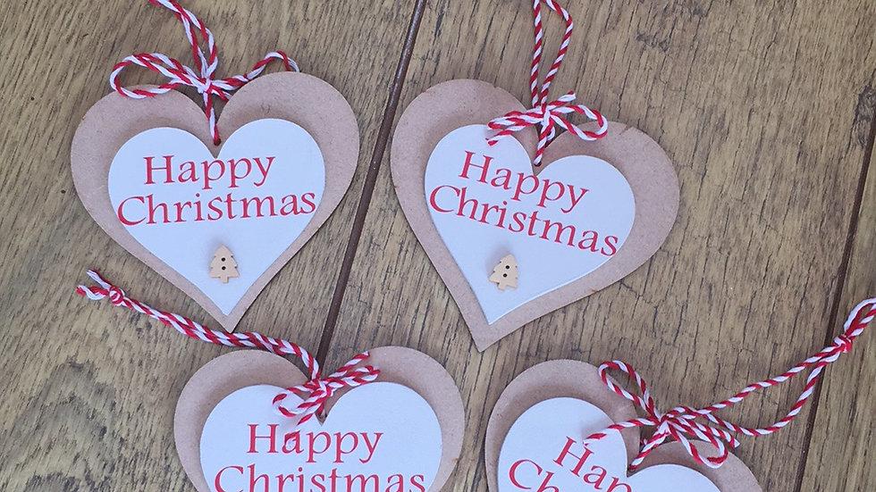 Happy Christmas double hearts
