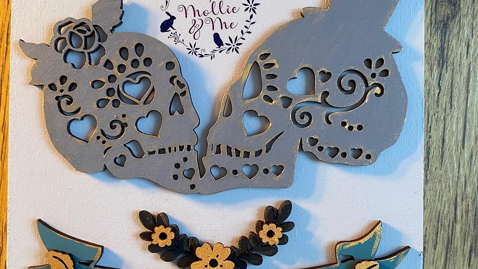 Mr & Mrs skull wedding plaque