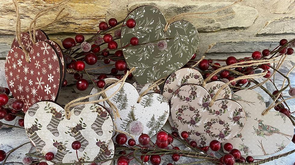 5 x Christmas hearts