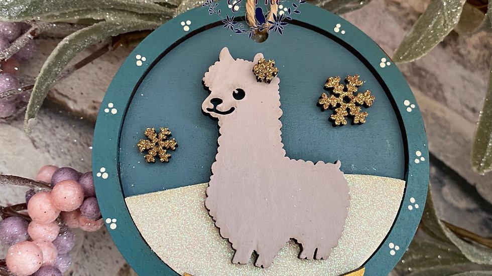 Christmas Alpaca snow globe