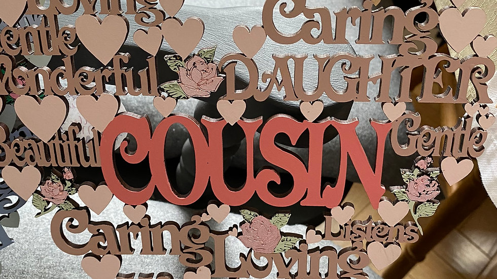 Cousin worded mdf heart