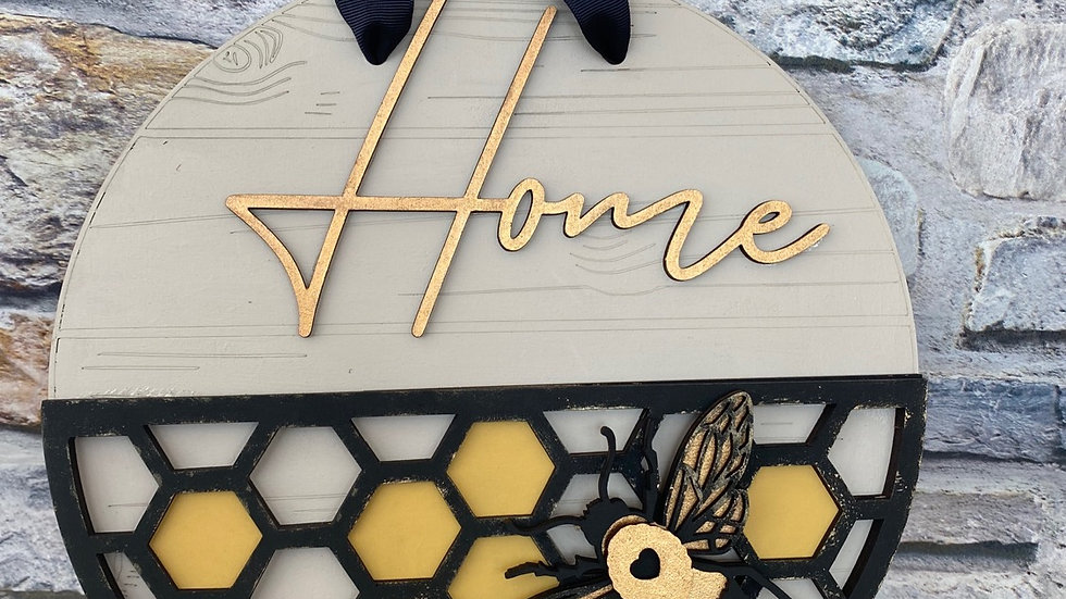 Home bee hive sign