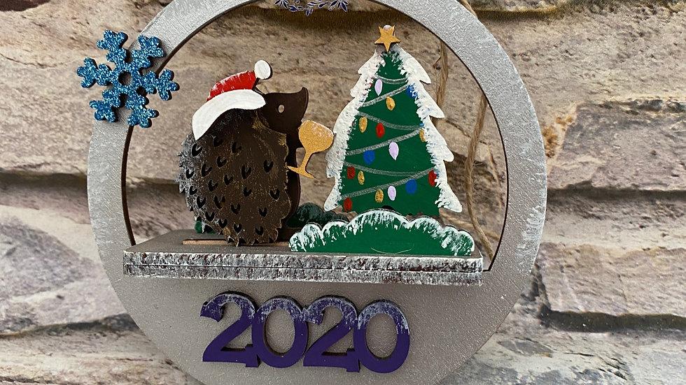 Hedgehog 3D Christmas bauble