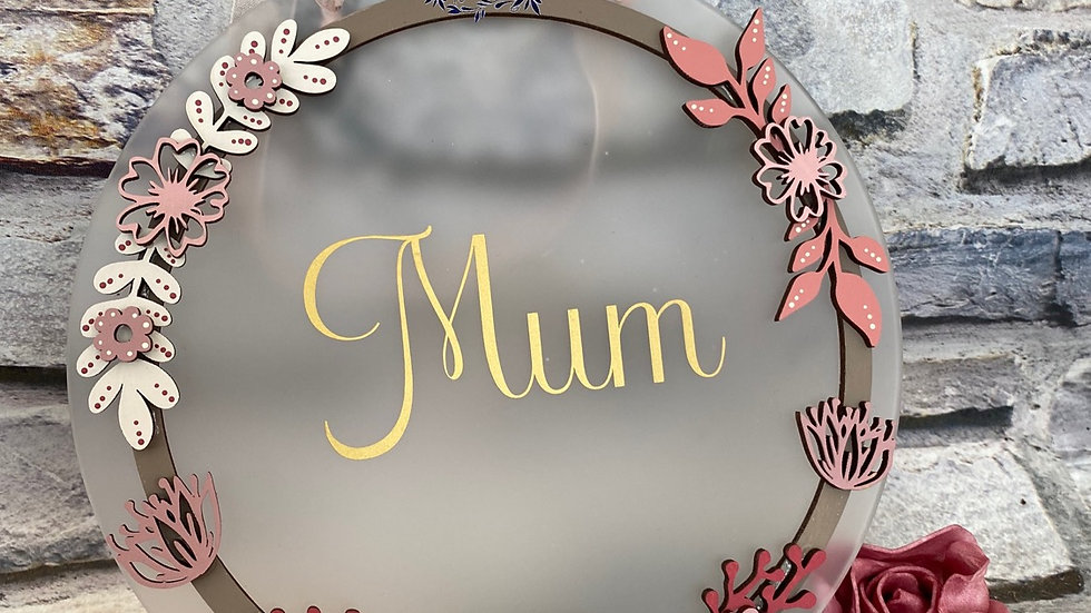 Frosted acrylic Mum plaque