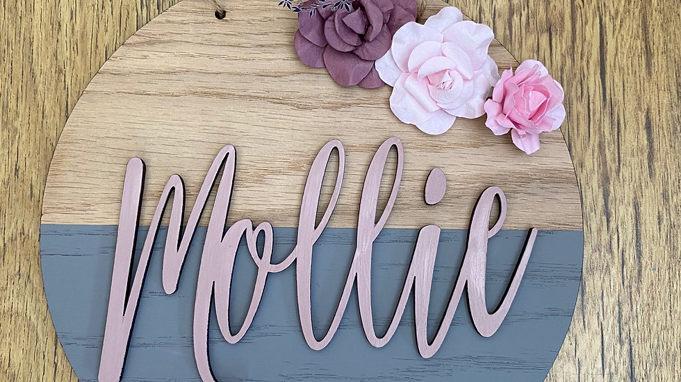 Personalised oak board with flowers