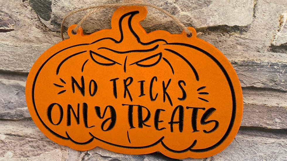 No tricks only treats pumpkin