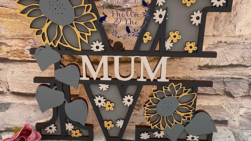 Mum sunflower split letter 25cm