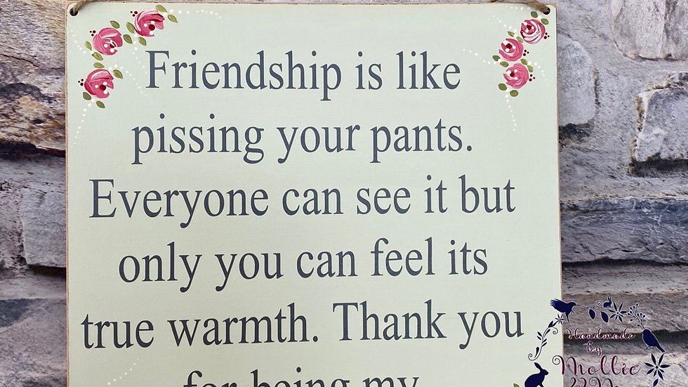 Friendship is like pissing your pants