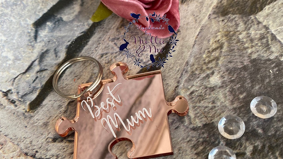 Rose gold jigsaw - best mum keyring