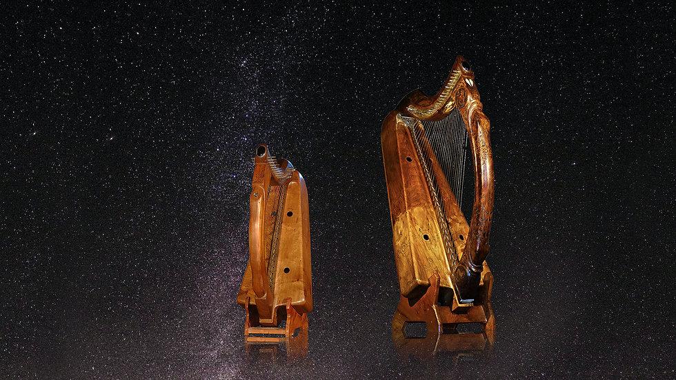 Harpes celtiques historiques de l'atelier de lutherie Herrou père & fils sous un ciel étoilé
