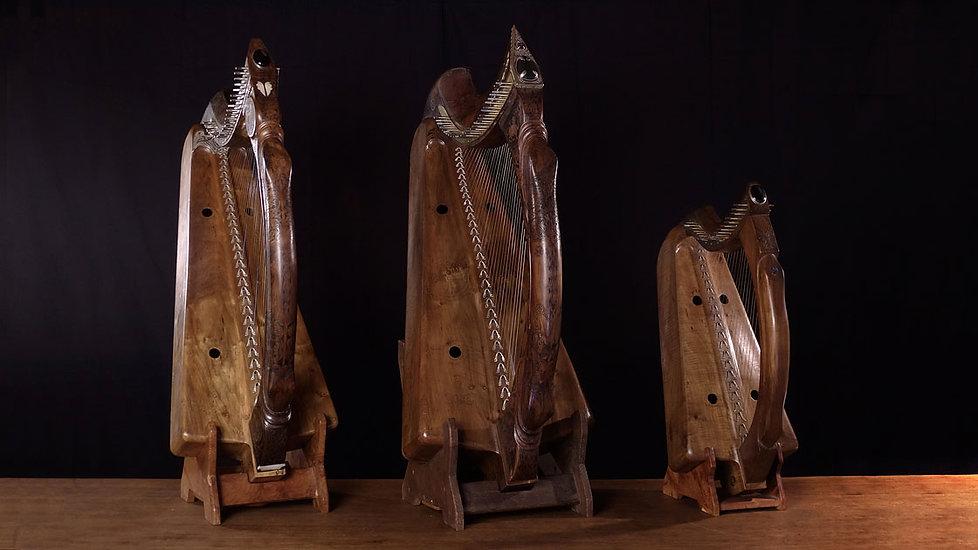 Harpes Herrou, la gamme de modèles d'après la Queen Mary Harp et la Lamont Harp