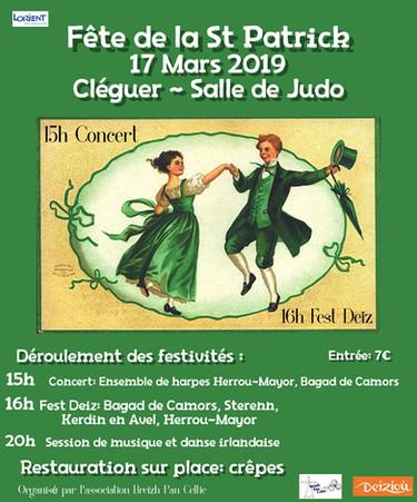 Affiche concert fest-deiz St Patrick Pan Celtic Hen Telenn Brezh Cléguer