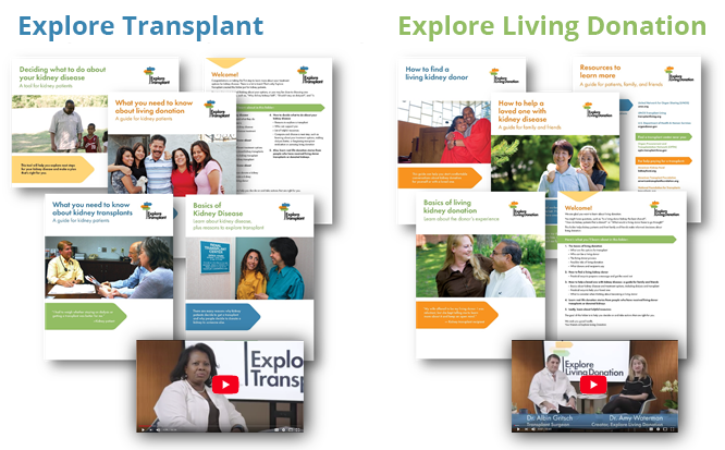 Pictured: Explore Transplant and Explore Living Donation print and digital education materials